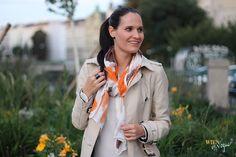 WIEN EN VOGUE - trenchcoat beige, orange, brown, white