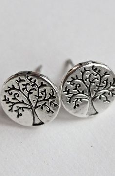 Tree Of Life Post Earrings Antique silver Studs