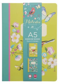 Melodie Bird, Butterfly and Floral A5 Exercise Books 60 Pages (Pack of 2)