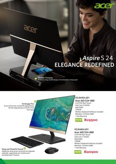 Acer Aspire AIO and Desktop Non-Touch Wifi Wireless Keyboard & Mouse included Windows 10 Home Secure Digital, Surround Sound Systems, Acer Aspire, Card Reader, Life Images, Digital Media, Desktop