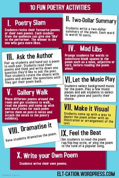 Looking for fun activities to explore the art of poetry and use it to support language learning? Try these simple and fun activities. See more in my previous posts on poetry: ICE ICE, BABY: WRITING. Teaching Poetry, Teaching Literature, Teaching Writing, Teaching Language Arts, Teaching English, High School Writing, Writing Rubrics, Middle School Reading, English Teachers