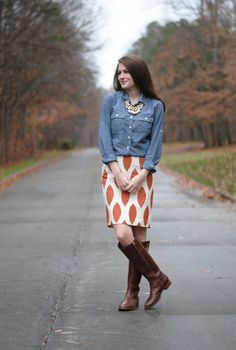 Southern Curls & Pearls: Chambray and a Pencil Skirt