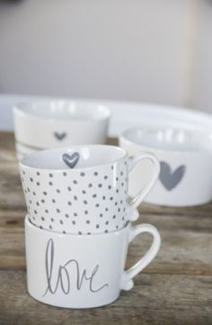 Bastion Collections Bowl White little heart relief in Grey - label123