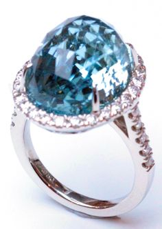 Aquamarine faceted dome in platinum with diamonds, Janet Deleuse Designer, only one www.deleuse.com