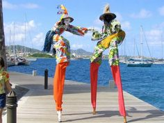 Moko Jumbies on the boardwalk in Christiansted, St. Croix.