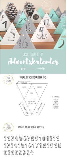 DIY Last Minute Adventskalender mit Vorlage und Lettering zum basteln