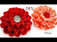 Цветок из ленты / Зажим с Цветком  Канзаши, МК / DIY Kanzashi Flower Hairclip - YouTube