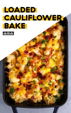 This loaded cauliflower casserole is so easy to make. It's cheesy and has lots of bacon. You'll love making this recipe this fall! Loaded Cauliflower Bake - Loaded Cauliflower Bake Is The Low-Carb Side You've Been Waiting ForDelish Loaded Cauliflower Casserole, Cauliflower Recipes, Cauliflower Bake, Loaded Baked Cauliflower, Roasted Cauliflower, Califlower Casserole, Cauliflower Mac And Cheese, Side Dish Recipes, Low Carb Recipes