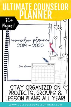 School Counselor Planner 2019 – 2020 (Neutral Heart Theme) – College Counselor Traci – The best ideas School Counselor Office, Elementary School Counselor, Elementary Schools, School Office, Back To School Activities, School Resources, College Success, Lesson Planner, Group Counseling