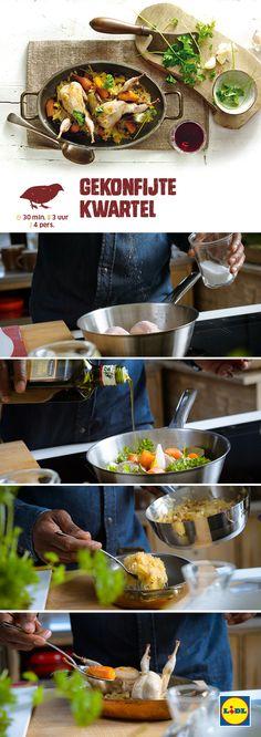 Deze gekonfijte kwartel is gemakkelijk zelf te bereiden! Meer Wild & Wijn recepten ontdekken? Kijk op www.lidl.nl #wildenwijn #wijn #Lidl