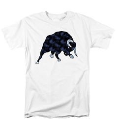 Painting Men's T-Shirt (Regular Fit) featuring the painting Wall Street Bull Market Series 1 T-shirt by Edward Fielding