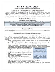 inventory management resume example