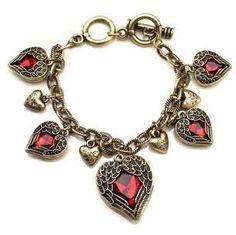Vintage Jewelry red gemstone 5 hearts love pendant braceelt necklace Angel Wing Alittlestyle Vintage $8.84