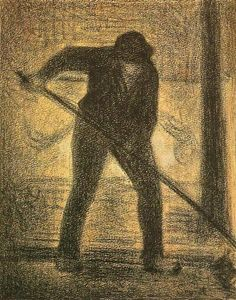 Georges Seurat, The Garbage Picker, c.1888, comte on paper, 30.5 x 23.5 cm, Museu Chácara do Céu, Rio de Janeiro, Brazil