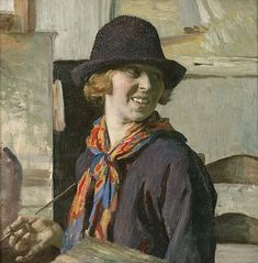 Dame Laura Knight (self portrait 1913) - (4 August 1877 – 7 July 1970) was an English Impressionist painter known for painting the world of London's theatre, ballet and circus as well as a war artist during the Second World War.
