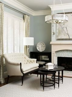"Sherwin Williams ""Comfort Gray - Linda McDougald Design Interior Paint Color and Color Palette Ideas Sherwin Williams Comfort Gray, Shutters With Curtains, Long Curtains, White Curtains, My Living Room, Living Spaces, Ideas Prácticas, Decoration Inspiration, Design Inspiration"