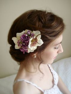 lilac flower hair accessory  AVONLEA  bridal hair by thehoneycomb, $60.00