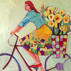 Floral Delivery - painting by Carolee Clark Clark Art, Black Aesthetic Wallpaper, Bicycle Art, Painting People, Beginner Painting, Portrait Art, Portraits, Altered Art, Female Art