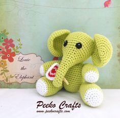 Green Baby Elephant Crochet Plush Toy - Baby Gift - Baby Shower - Nursery Decor - Amigurumi Elephant - Cotton Elephant - Gifts for Kids