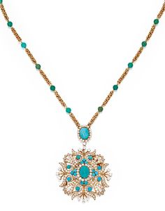 18 KARAT GOLD, TURQUOISE AND DIAMOND PENDANT-BROOCH AND CHAIN, VAN CLEEF & ARPELS. The openwork pendant-brooch set with 20 turquoise cabochons, accented by numerous round diamonds, signed Van Cleef & Arpels, suspended from a fancy-link chain spaced at intervals by 22 turquoise beads, set at the front with an oval-shaped turquoise cabochon framed by round diamonds, signed VCA, numbered 94908, with French assay marks.