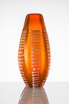 """Jan Sylwester Drost – wazon wolno formowany z poziomymi nakładkami szklanymi, HSA """"Staszic"""", unikat, 1966"""