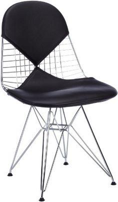 Vitra 4121460066 Stuhl DKR-2 Wire Chair mit Sitz- und Rückenkissen, schwarz