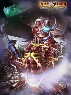 ArtStation - Eddie The Cyborg, Cris Tof Heavy Metal Art, Heavy Metal Bands, Fantasy Paintings, Fantasy Art, Woodstock, Hard Rock, Rock Bands, Iron Maiden Mascot, Iron Maiden Albums