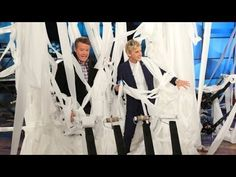 I don't want rice thrown at my wedding, I now want people with leaf blowers and coloured toilet paper!!! ▶ Steve Spangler Toilet-Papers Ellen's Studio - YouTube