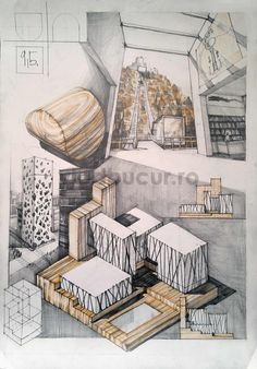 Subiecte – Page 2 – Vlad Bucur Library Architecture, Classical Architecture, Architecture Plan, Architecture Drawing Sketchbooks, House Outside Design, Landscape Model, Interior Design Sketches, Presentation Layout, Famous Architects