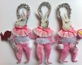 EASTER pink bunny rabbits set of 3 vintage style CHENILLE ORNAMENTS feather tree StanleyAndStewart  vintage style chenille ornaments Etsy