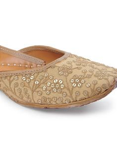 d82eb70dd53 Gold Sequin and Thread embroidered Silk and Leather Juttis