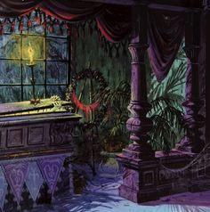 """spookydisney: """" Really beautiful Colin Campbell artwork for the Story And Song From The Haunted Mansion record sold at Disneyland in the """" Haunted Mansion Halloween, Disney Halloween, Halloween Art, Vintage Halloween, Halloween Garland, Halloween Tattoo, Haunted Hotel, Halloween Prints, Halloween Images"""