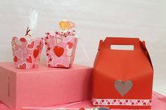 Valentine theme gable box and two sweet treat containers.