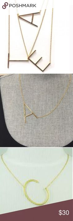 """Large Sideways Initial Necklace, NWT & Boxed Each initial is approximately 1 1/2"""" X 3/4"""" wide and are a polished gold plated finish. Very modern and sophisticated block letter initial. 18""""-20"""" adjustable.chain. Price is firm. ZokyDoky Jewelry Necklaces"""