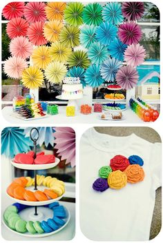 DIY Rainbow party full of ideas! Via Kara's Party Ideas KarasPartyI - THE place for all things party! Rainbow Unicorn Party, Rainbow Birthday Party, Rainbow Theme, Art Birthday, 1st Birthday Parties, Rainbow Pinata, Cake Rainbow, Flower Birthday, Birthday Shirts