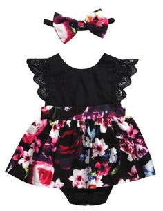 Black Floral Baby Girl Dress