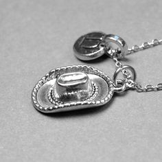 Cowboy Hat Necklace charm 3D small silver by chrysdesignsjewelry, $18.00
