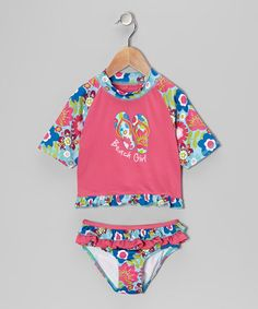 Take a look at this Fuchsia Floral Rashguard Set - Infant & Toddler by Pink Platinum & iXtreme on #zulily today!