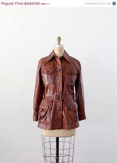 SALE vintage 70s motorcycle jacket / belted leather by 86Vintage86