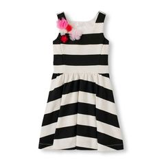Image for Girls Sleeveless Striped Flower Ponte Fit and Flare Dress from The Children's Place