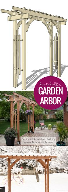 How To Build A Garden Arbor For A Backyard Structure Or Outdoor Wedding   This garden arbor is designed to be easily taken apart and transported, perfect for a wedding or other event. Plus, it uses readily available lumber sizes so it's easy to build on a budget to look great at an event and then in your backyard. Get the building plans plus video tutorial at Remodelaholic.com