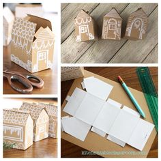 Use this free printable house template to make a gingerbread house! So cute- and no sugar rush unless you want it! paper house How to Make a Paper House- Free House Template - The Kitchen Table Classroom Cardboard Gingerbread House, Cool Gingerbread Houses, Christmas Gingerbread House, Christmas Crafts, Christmas Decorations, Christmas Printables, Diy Christmas Village, Christmas Ideas, Diy Crafts Videos