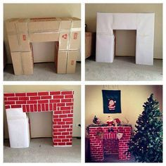 Build a cardboard fireplace to hang your Christmas stockings christmas fireplace Top 30 Lovely and Cheap DIY Christmas Crafts Sure to Wow You - HomeDesignInspired Christmas Hacks, Christmas Projects, All Things Christmas, Winter Christmas, Christmas Time, Merry Christmas, Christmas Program, Father Christmas, Diy Christmas Boxes