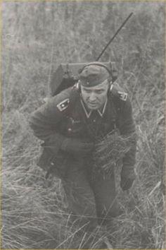 German soldier with a Feldfu.* radio set