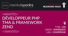 L'agence digitale #Mentalworks recrute un #développeur #PHP maîtrisant le #framework #Zend 1 pour assurer la conception et la TMA (Tierce Maintenance Applicative et évolutive) de sites web et d'applications métiers. Poste basé sur Compiègne, disponible de suite. Rémunération selon profil et expérience.   Si ce poste vous intéresse, déposez votre candidature ici : http://www.mentalworks.fr/rh