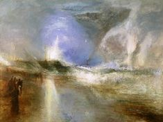 Joseph Mallord William Turner, 'Rockets and Blue Lights (Close at Hand) to Warn Steam Boats of Shoal Water' 1840. Captures flashes of light and exploding color. Subject matter is less important than the technique. It has an iridescent/reflective look. Romanticism.