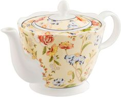 Cottage Garden Teapot.  This is fine bone china and is beautifully boxed to make an exquisite gift. Ceramic. Dishwasher safe. Freezer safe Microwave safe. Oven safe. #affiliate #gift #teapot
