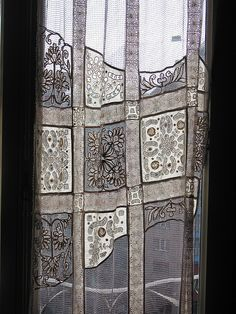 "Beautiful ""Doily Curtains"", I've seen a few different incarnations of this same idea & I've loved them all!! Plus, this is a great way to Showcase & Display your collection of Vintage or your own (new) handmade doilies!!"