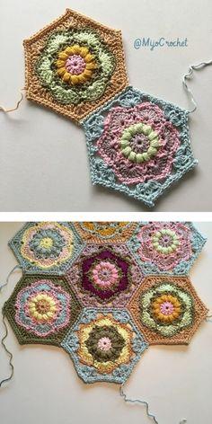 Beautiful Hexagons Free Crochet Pattern – Suzy's Fashion – Granny Square Hexagon Crochet Pattern, Crochet Quilt, Crochet Blocks, Crochet Squares, Crochet Blanket Patterns, Knitting Patterns, Free Crochet Square, Crochet Hexagon Blanket, Square Blanket