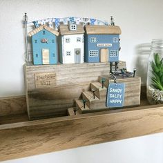This piece, Harbour Wall, was made especially to fit the customer's shelf. She gave me careful measurements and thankfully it worked perfectly! Scrap Wood Crafts, Wood Block Crafts, Wooden Crafts, Wooden Diy, Diy Crafts Slime, Diy Home Crafts, Driftwood Sculpture, Driftwood Art, Small Wooden House